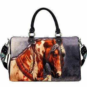 Montana West Horse Art Canvas Travel Duffel Purse